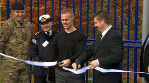 Cutting ribbon at MUGA