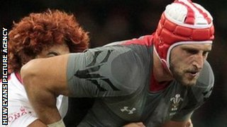 Lock Luke Charteris is tackled by Tonga's Taniela Moa and Siale Piutau during the first half of Wales' third Test of the autumn series in Cardiff.