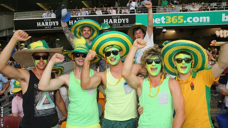 Australian fans pose for the camera