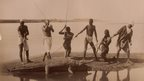 La chasse du crocodil au bord du Nil by Zangaki, c. 1880.