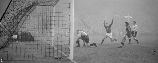 Hungary's fifth goal in their 6-3 win at Wembley in 1953