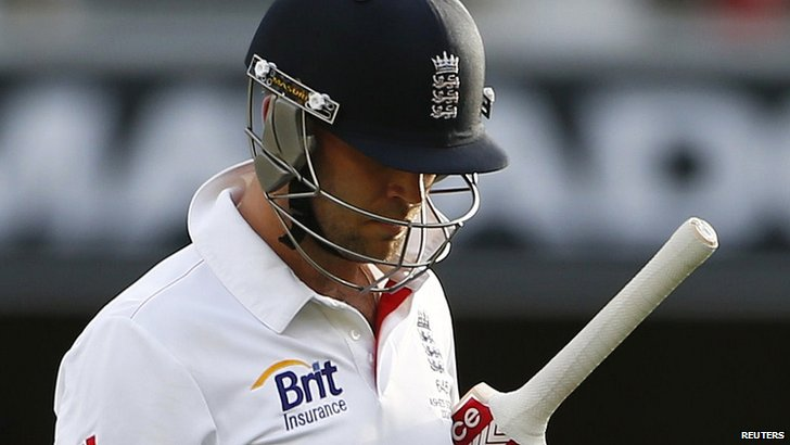 England batsman Jonathan Trott walks off