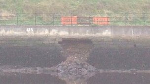 Wall collapse on the River Tyne