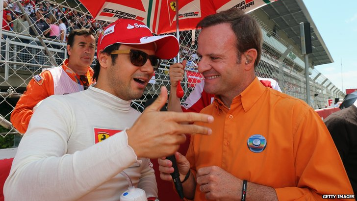 Felipe Massa (left) and Rubens Barrichello