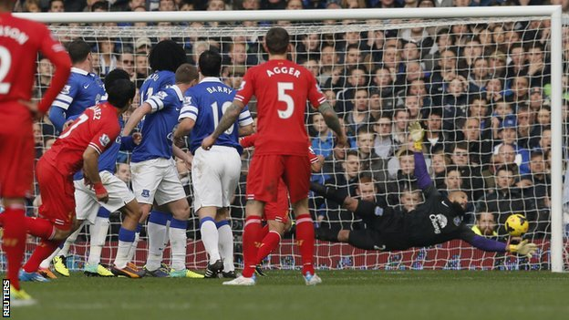Liverpool striker Luis Suarez (left) watches closely as his free-kick beats Everton keeper Tim Howard