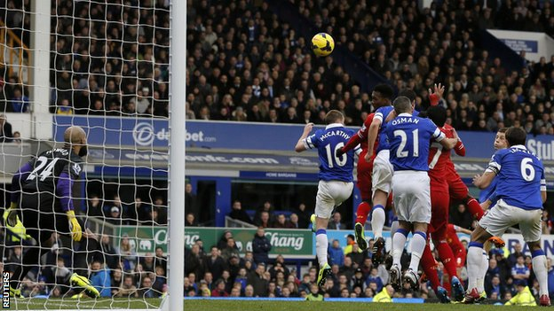 Daniel Sturridge equalises in the 89th minute against Everton
