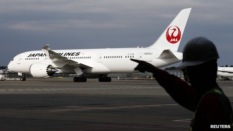 Japan Airlines (JAL) 787 Dreamliner plane at Narita international airport on 11 November 2013