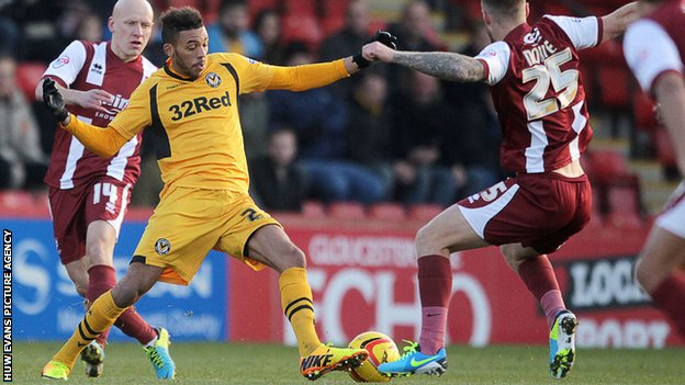 Action from Cheltenham Town v Newport County