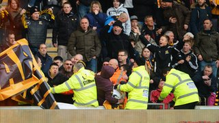 Hull City fans with banner