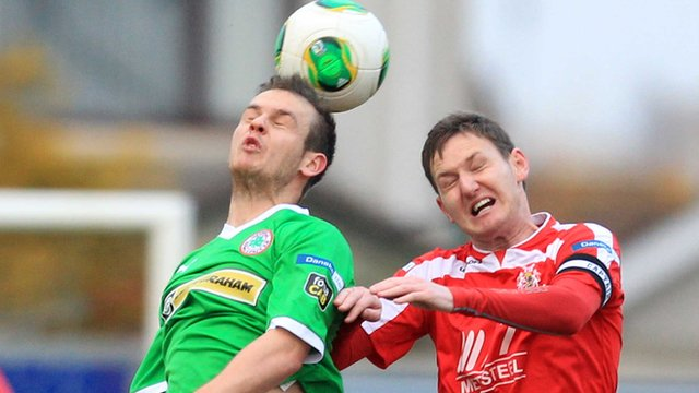 Match action from the 3-3 Irish Premiership draw between Portadown and Cliftonville at Shamrock Park