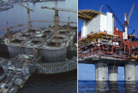 Old and new oil platform