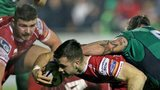 Gareth Davies is about to dive in for the third Scarlets try in Galway