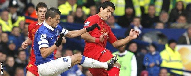Kevin Mirallas challenges Luis Suarez