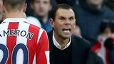 Furious Sunderland manager Guy Poyet remonstrates with referee Kevin Friend during the defeat against Stoke