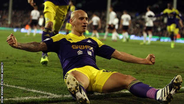 Jonjo Shelvey celebrates Swansea's win at Fulham