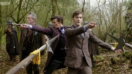 John Hurt, Matt Smith and David Tennant in a scene from Dr Who, The Day of the Doctor