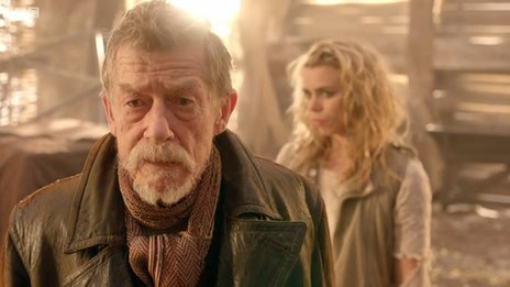 John Hurt and Billie Piper in a scene from Dr Who, The Day of the Doctor