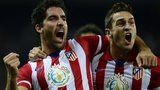 Atletico Madrid midfielder Raul Garcia celebrates with Koke after scoring against Getafe