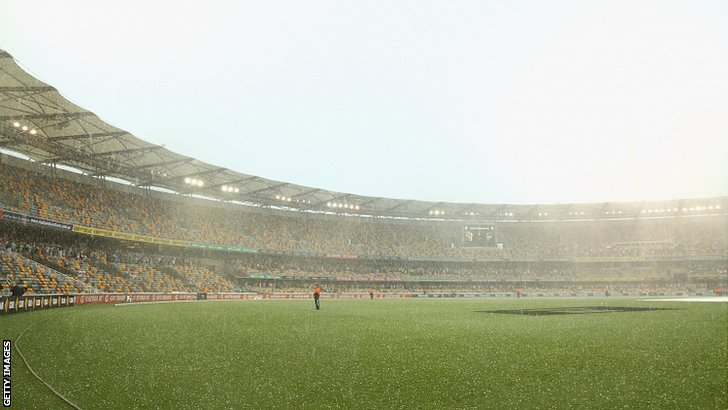 A hail storm hits the Gabba and suspends play