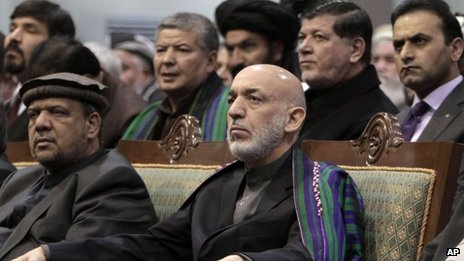 Afghan President Hamid Karzai attends final day of Loya Jirga in Kabul