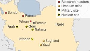 Map of Iran's nuclear sites