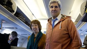 Secretary of State John Kerry, right, and EU foreign policy chief Catherine Ashton