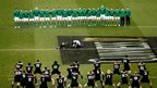 Ireland face the All Blacks haka before the start of the autumn international in Dublin