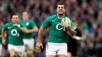 Rob Kearney sprints clear to run in Ireland's third try and give Ireland a 19-0 lead