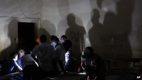 Election volunteers count ballots in Gao, northern Mali.