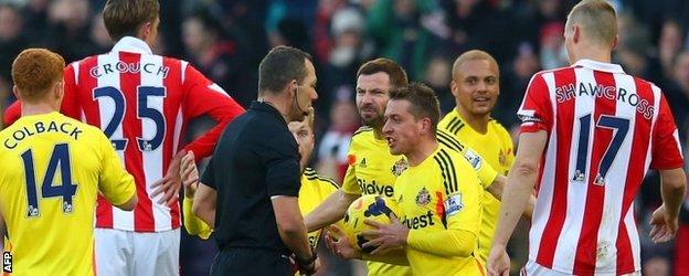 Sunderland defender Wes Brown after being sent off against Stoke