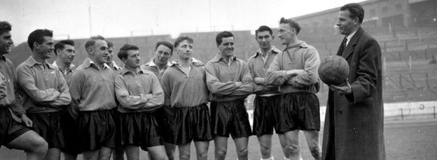 Sir Walter Winterbottom and his England team in 1955