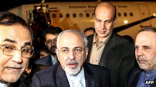 Javad Zarif arrives back in Tehran