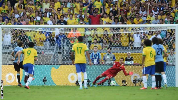 Julio Cesar saves Diego Forlan's penalty