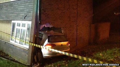 car stuck in house