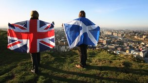 Two people holding up a Scotland and a Union Jack flag