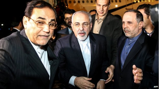 Iranian Foreign Minister Mohammed Javad Zarif (Centre) arrives at Tehran's airport