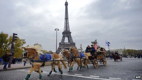 Horses and riders on a protest in Paris