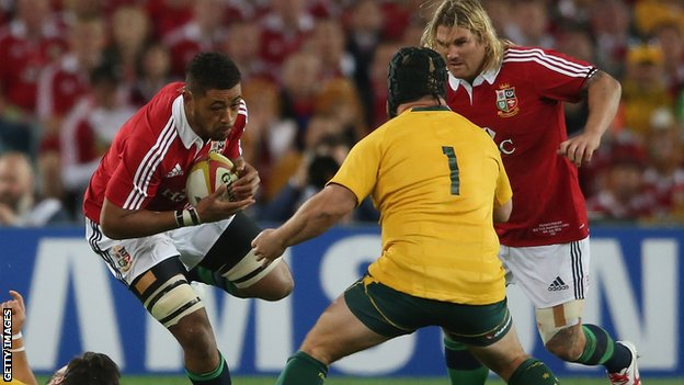 Toby Faletau and Richard Hibbard take on Australia in the British and Irish Lions series win in 2013