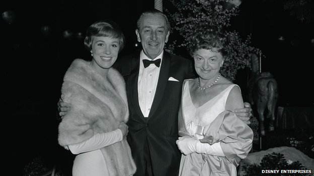 "Taken at the Los Angeles premiere of ""Mary Poppins""..Left to right: Julie Andrews, Walt Disney, P.L. Travers..Copyright Disney Enterprises, Inc."