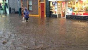 Flooding at Llanberis, Gwynedd