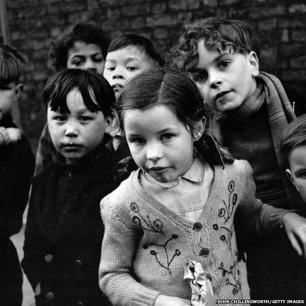 A group of children playing in the streets of Liverpool, 1954