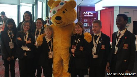 School Reporters from Northwood School with Pudsey Bear