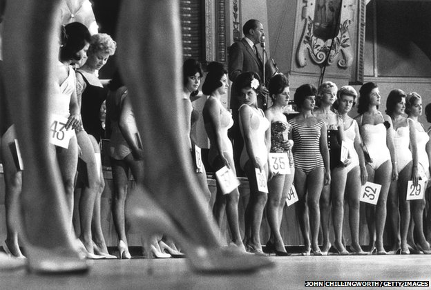Contestants in a heat of ABC Television's nationwide beauty contest parade before the judges, Birkenhead, 1958