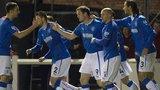 Rangers celebrate their first goal against Arbroath