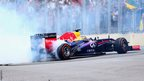 Sebastian Vettel performs donuts in his car after winning the Brazilian GP
