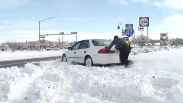 Car stuck in snow