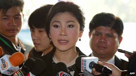 Thai Prime Minister Yingluck Shinawatra (centre) at the parliament in Bangkok, Thailand, 26 November 2013