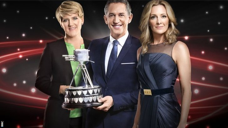 Presenters Clare Balding, Gary Lineker and Gabby Logan with the Sports Personality trophy