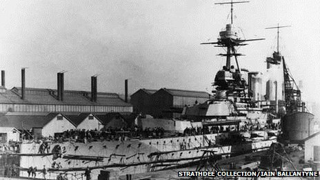 HMS Warspite nearing completion at Devonport Dockyard, Plymouth, circa 1914