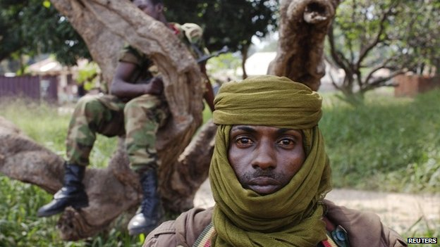 An ex-Seleka soldier stands guard, Central African Republic